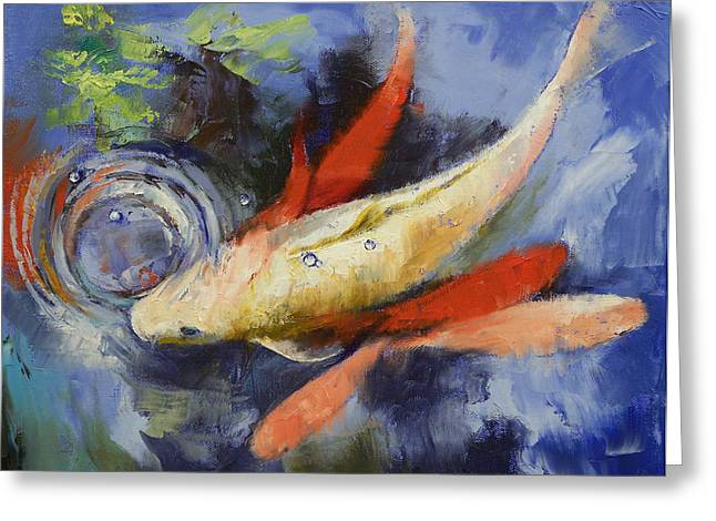 Coy Greeting Cards - Koi and Water Ripples Greeting Card by Michael Creese
