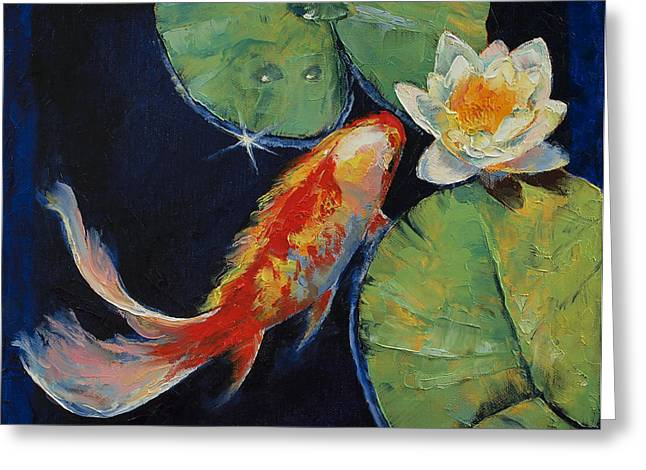 White Paintings Greeting Cards - Koi and White Lily Greeting Card by Michael Creese
