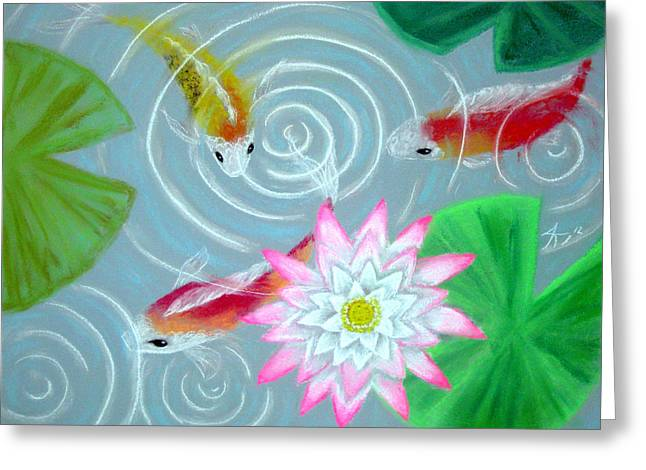 Drop Pastels Greeting Cards - Koi Greeting Card by Autum Wright