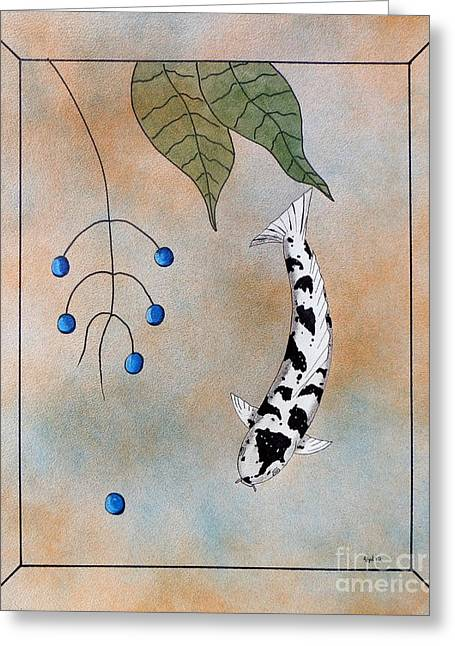 Lucky Dogs Paintings Greeting Cards - Koi Bekko Blue painting Greeting Card by Gordon Lavender