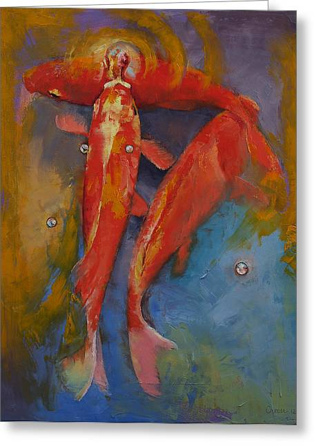 Bubbles Greeting Cards - Koi Bubbles Greeting Card by Michael Creese