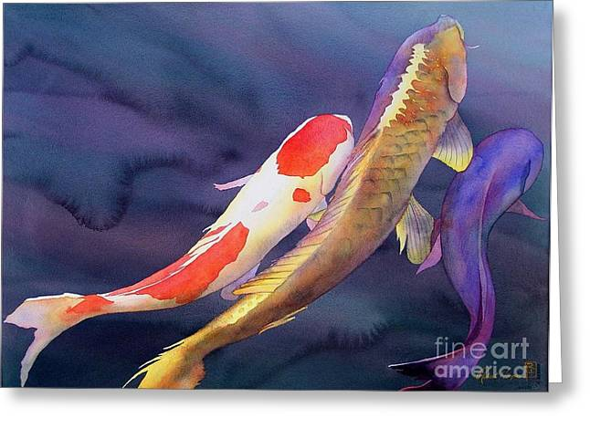 Fish Greeting Cards - Koi Dance Greeting Card by Robert Hooper
