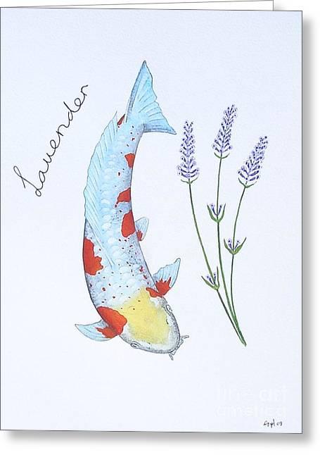 Sakana Greeting Cards - Koi Doitsu Ochiba Lavender Greeting Card by Gordon Lavender
