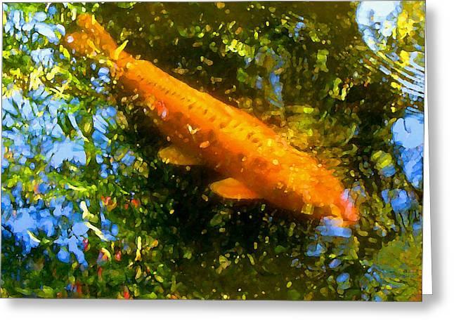 Koi Fish 1 Greeting Card by Amy Vangsgard