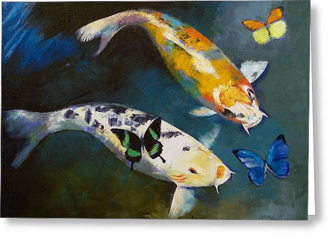 Butterfly Koi Greeting Cards - Koi Fish and Butterflies Greeting Card by Michael Creese