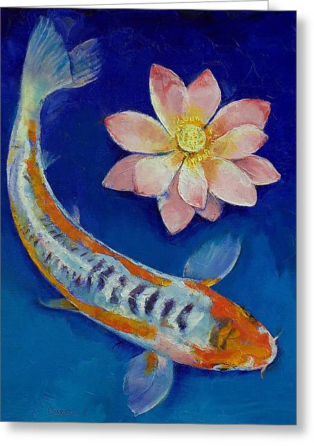 Lotus Lily Greeting Cards - Koi Fish and Lotus Greeting Card by Michael Creese
