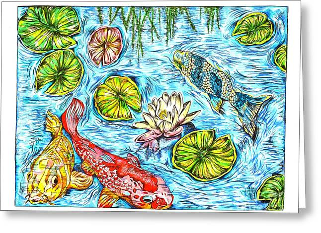 Water Lilly Greeting Cards - Koi Fish in a Pond Greeting Card by Karen Sirard