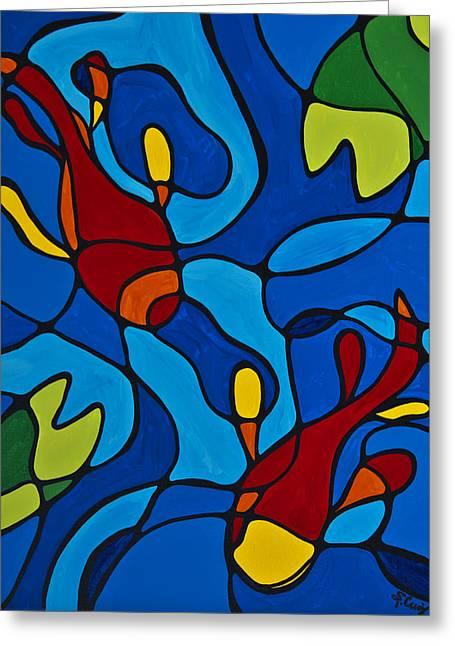 Fish Print Greeting Cards - Koi Fish Greeting Card by Sharon Cummings