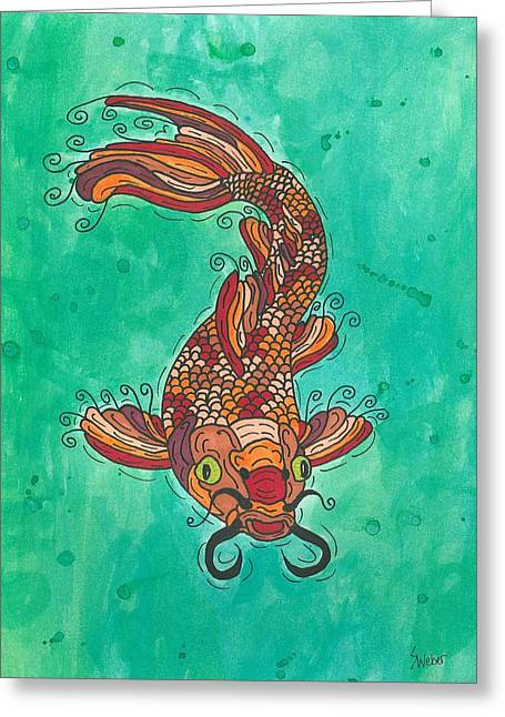 Susie Weber Greeting Cards - Koi Fish Greeting Card by Susie Weber