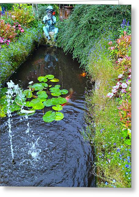 Koi Fountain Greeting Card by Nicole Parks
