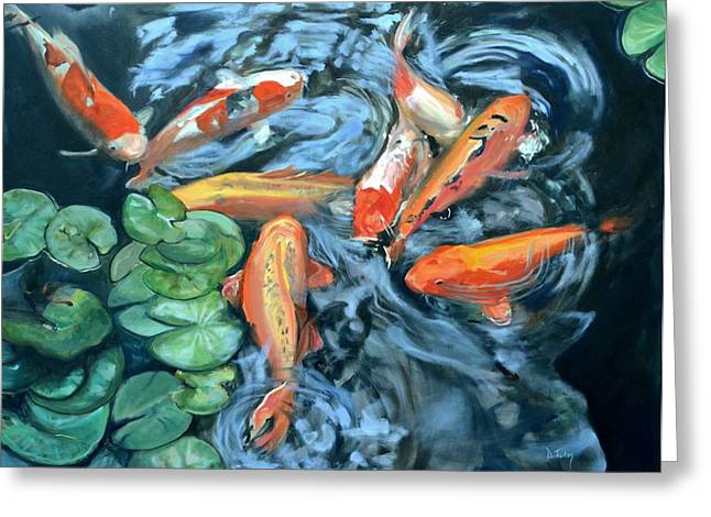 Fishscape Greeting Cards - Koi Frenzy Greeting Card by Donna Tuten