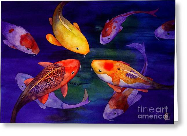 Koi Friends Greeting Card by Robert Hooper