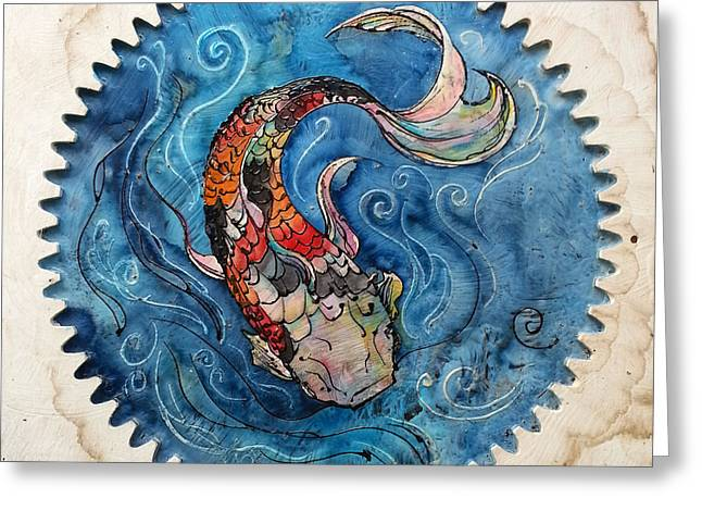 Repurposed Greeting Cards - Koi Game Board Greeting Card by Christy  Freeman