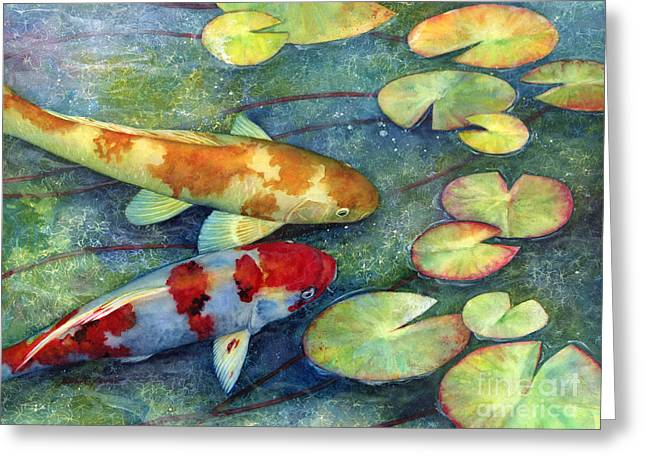 Koi Pond Greeting Cards - Koi Garden Greeting Card by Hailey E Herrera