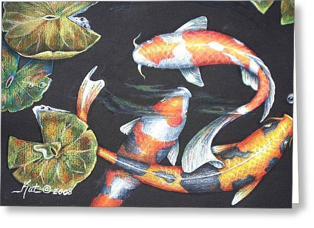Water Lilly Drawings Greeting Cards - Koi Greeting Card by Kat Ewing