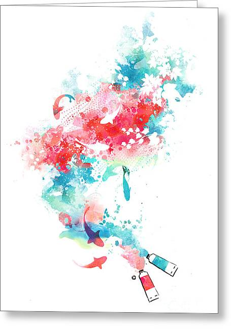 Pond.  Greeting Cards - Koi Life In Water Color Greeting Card by Budi Satria Kwan