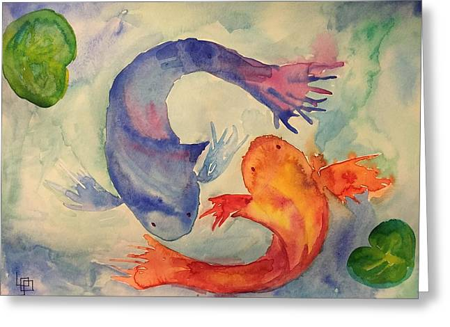 Ying Greeting Cards - Koi Greeting Card by Lorna Lowe