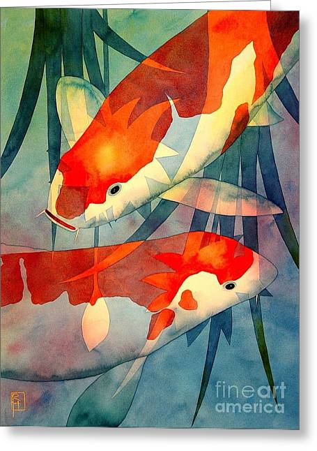 Original Watercolor Greeting Cards - Koi Love Greeting Card by Robert Hooper