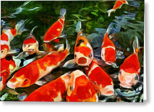 Goldfish Mixed Media Greeting Cards - Koi Greeting Card by Marion Daly
