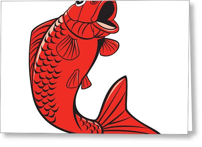 Koi Artwork Greeting Cards - Koi Nishikigoi Carp Fish Jumping Cartoon Greeting Card by Aloysius Patrimonio