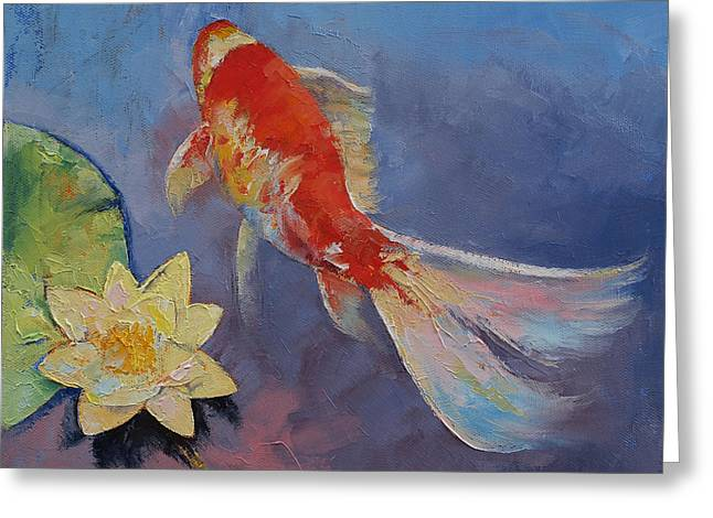 Hawaiian Pond Greeting Cards - Koi on Blue and Mauve Greeting Card by Michael Creese