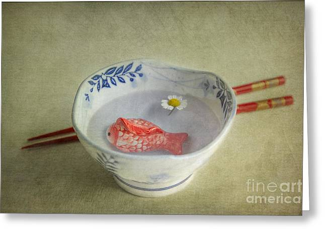 Tabletop Greeting Cards - Koi Pond Greeting Card by Elena Nosyreva