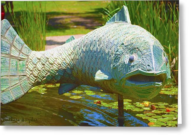 Lilly Pads Greeting Cards - Koi Pond Fish Santa Barbara Greeting Card by Barbara Snyder