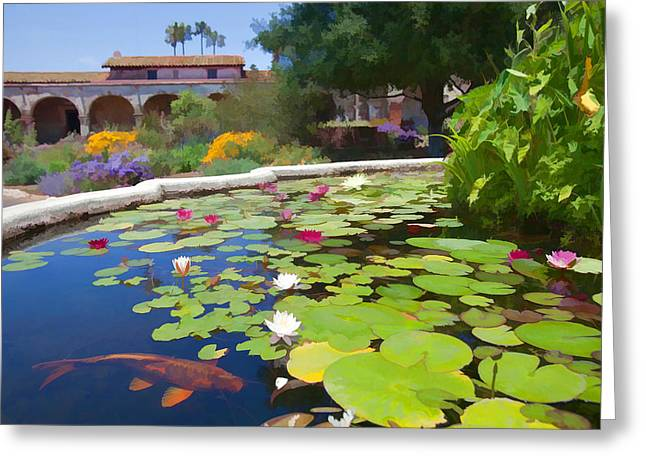 Goldfish Mixed Media Greeting Cards - Koi Pond in California Mission Greeting Card by Cliff Wassmann