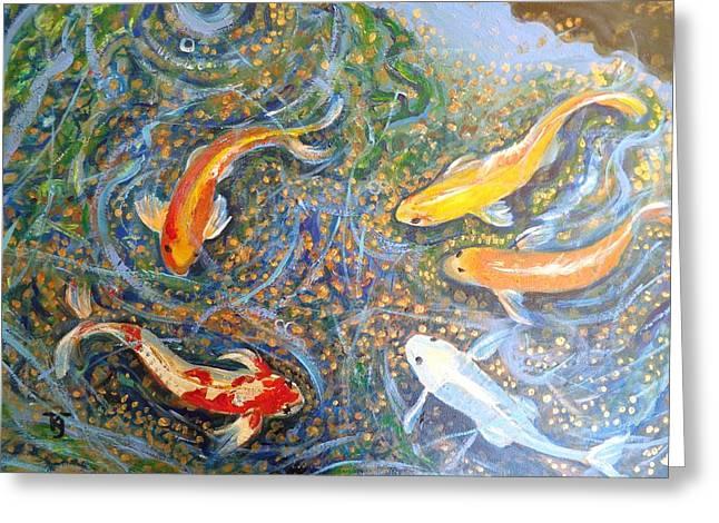 Waterlife Greeting Cards - Koi Pond Greeting Card by Karen Julihn