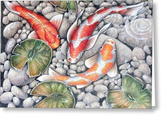 Water Lilly Drawings Greeting Cards - Koi Pond Greeting Card by Kat Ewing