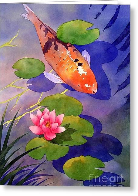 Water Garden Greeting Cards - Koi Pond Greeting Card by Robert Hooper