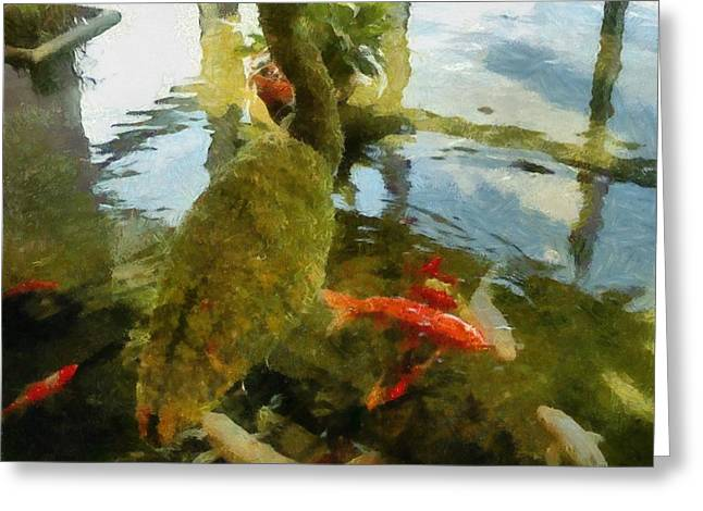 Goldfish Digital Greeting Cards - Koi Pond with Mossy Heron Greeting Card by Michelle Calkins