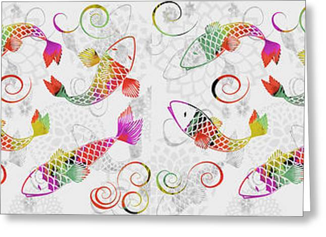 Decorative Fish Greeting Cards - Koi Stream - Pannel Greeting Card by Andrea Ribeiro