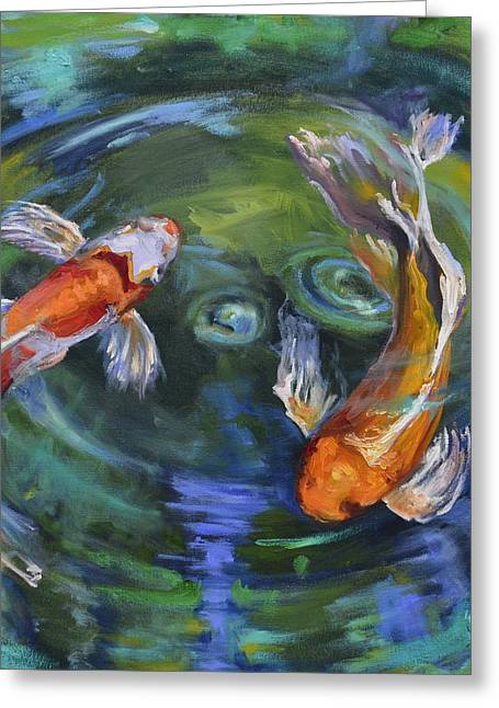 Butterfly Koi Greeting Cards - Koi Swirl Greeting Card by Donna Tuten