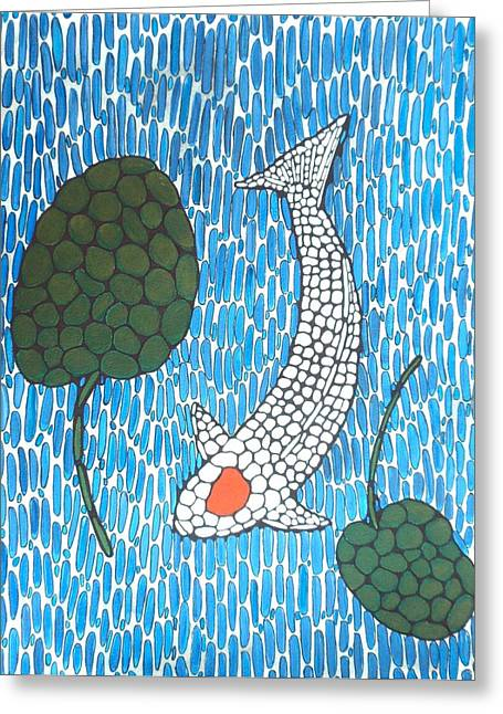 Lilly Pads Greeting Cards - Koi Tancho Mosaic painting Greeting Card by Gordon Lavender