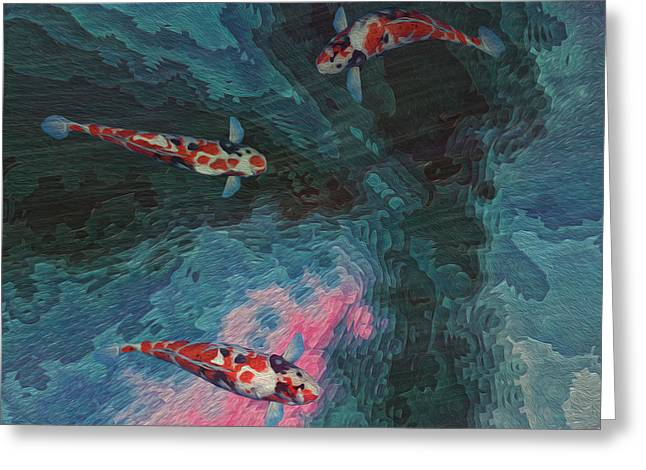 Water Garden Digital Art Greeting Cards - Koi Water Garden  Greeting Card by Jack Zulli