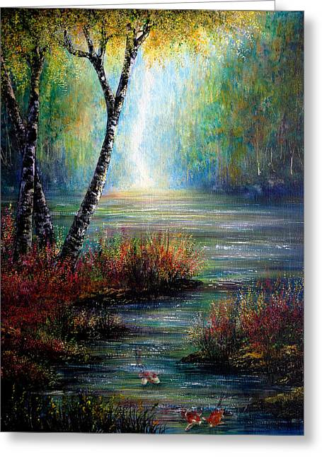 Kinkade Greeting Cards - Koi Waters Greeting Card by Ann Marie Bone