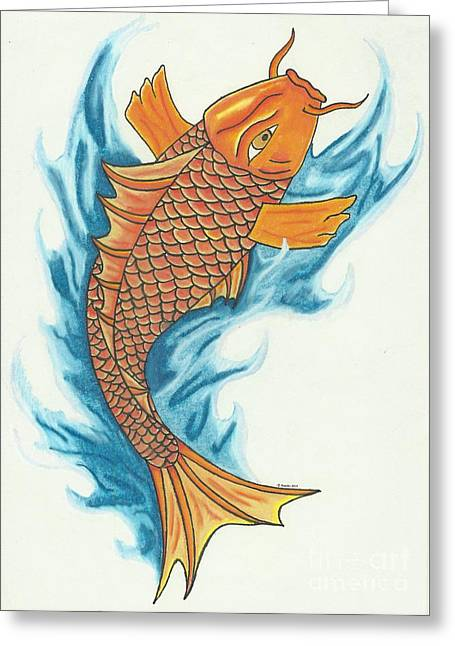 Tattoo Flash Drawings Greeting Cards - Koi with Waves Greeting Card by Tiffany Buttcher
