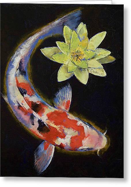 Coy Greeting Cards - Koi with Yellow Water Lily Greeting Card by Michael Creese