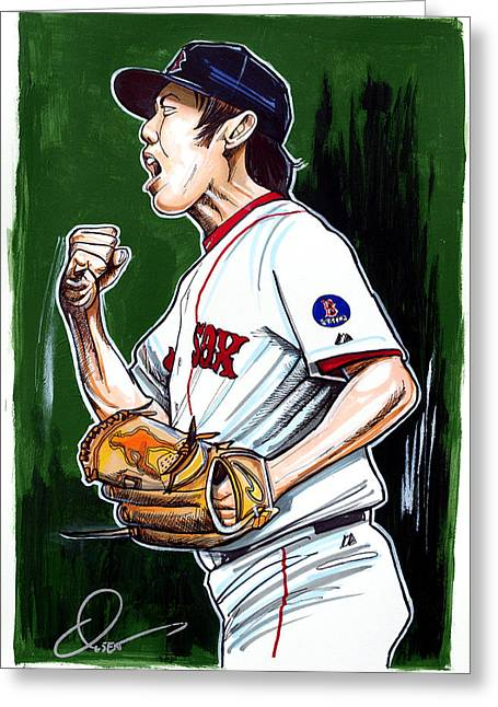 Baseball Art Greeting Cards - Koji Uehara Boston Red Sox Greeting Card by Dave Olsen