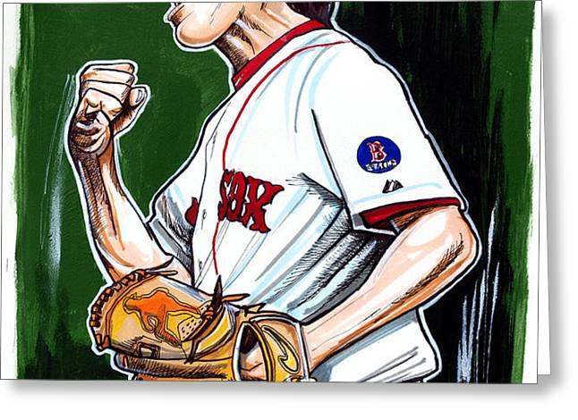 Koji Uehara Boston Red Sox Greeting Card by Dave Olsen