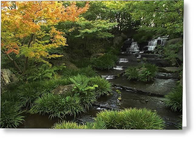 Kokoen Garden Waterfall - Himeji Japan Greeting Card by Daniel Hagerman