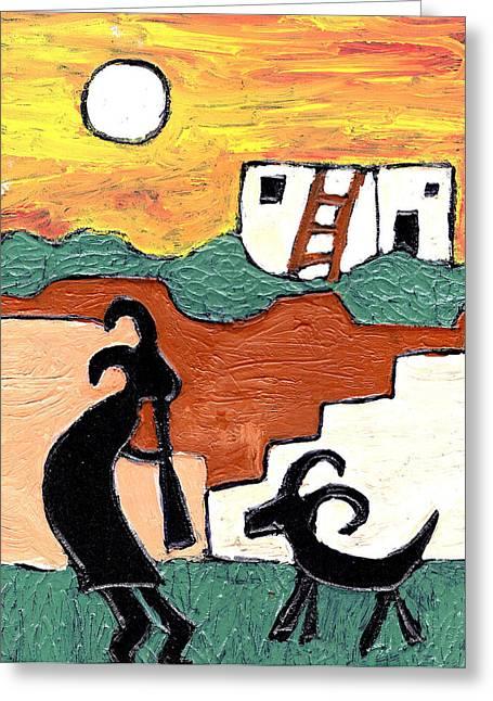 Kokopeli Greeting Cards - kokopeli at the Pueblo Greeting Card by Wayne Potrafka