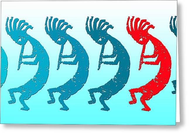 Traveling Salesman Greeting Cards - Kokopelli 8 In A Row 1 Red Greeting Card by Robert J Sadler