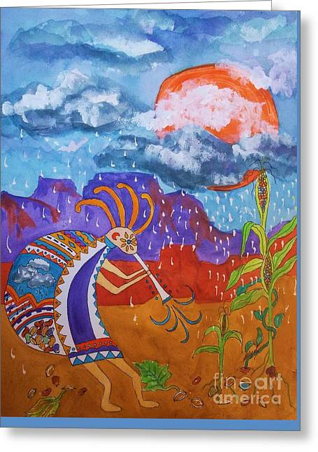 Green Beans Mixed Media Greeting Cards - Kokopelli Bringing The Rains Greeting Card by Ellen Levinson
