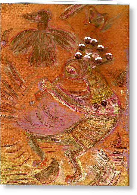 Kokopelli Dancing Up A Storm Greeting Card by Anne-Elizabeth Whiteway