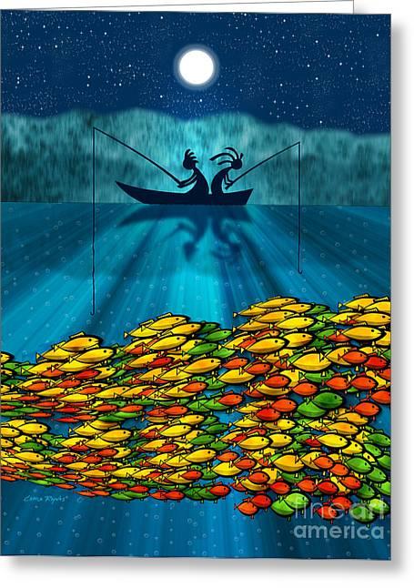 Kokopelli Fishing Greeting Card by Chris Rhynas