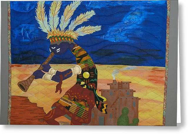 Kokopelli Happiness Greeting Card by Linda Egland