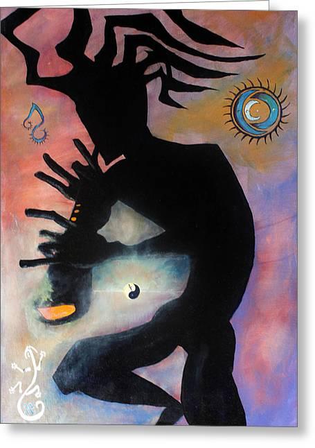 Ying Greeting Cards - Kokopelli Greeting Card by James Kruse