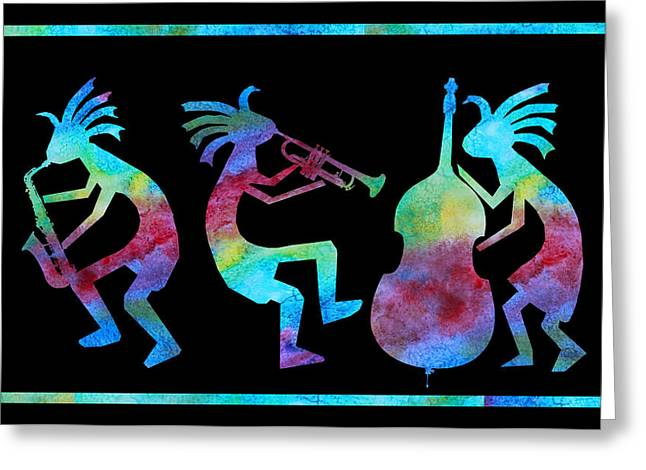 Trio Greeting Cards - Kokopelli Jazz Trio Greeting Card by Jenny Armitage